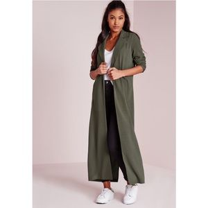 MissGuided Green Duster Coat Excellent Condition